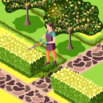 Jardineiro com ferramenta durante o corte de arbustos belo paisagismo com árvores e calçadas de pedra ilustração isométrica