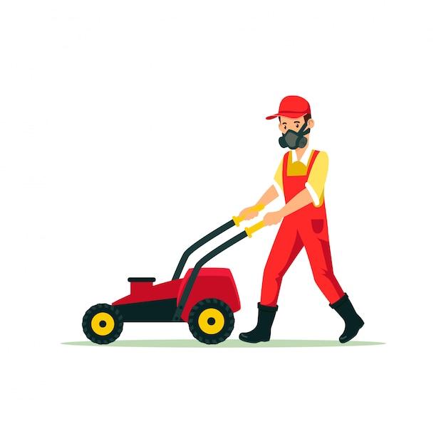 Jardineiro, com, gramado, cortador, caricatura, ilustração