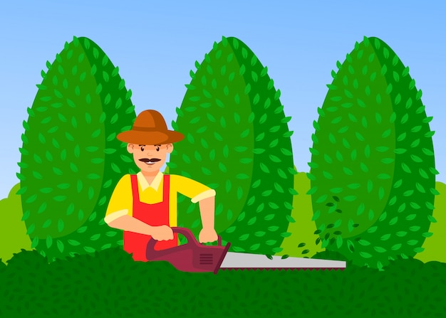 Jardineiro com ilustração de vetor de aparador de hedge