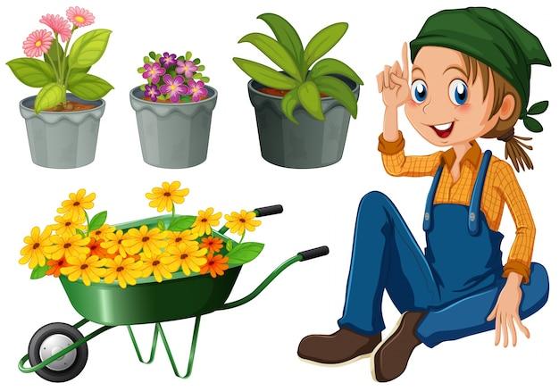 Jardineiro com plantas em vasos e ilustração de flores