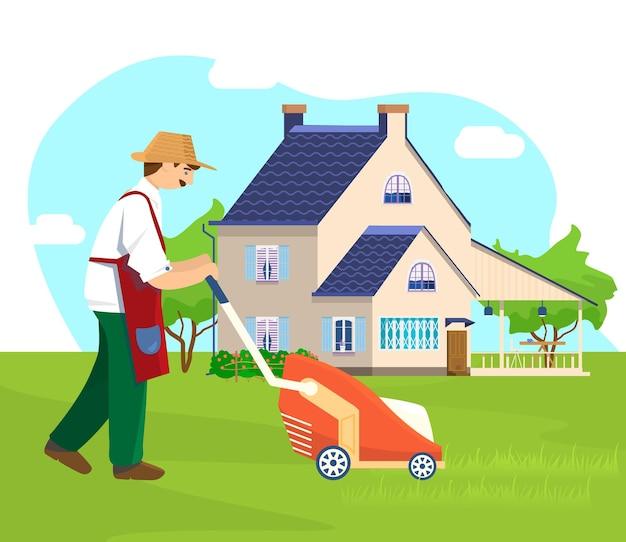 Jardineiro cortando a grama com bela residência de verão ao fundo.