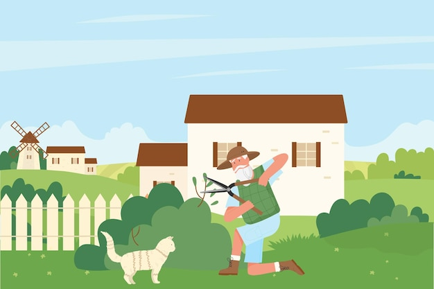 Jardineiro cortando ilustração de cerca viva de arbusto verde