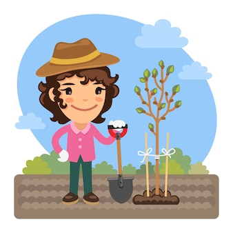 Jardineiro de desenhos animados plantas uma árvore