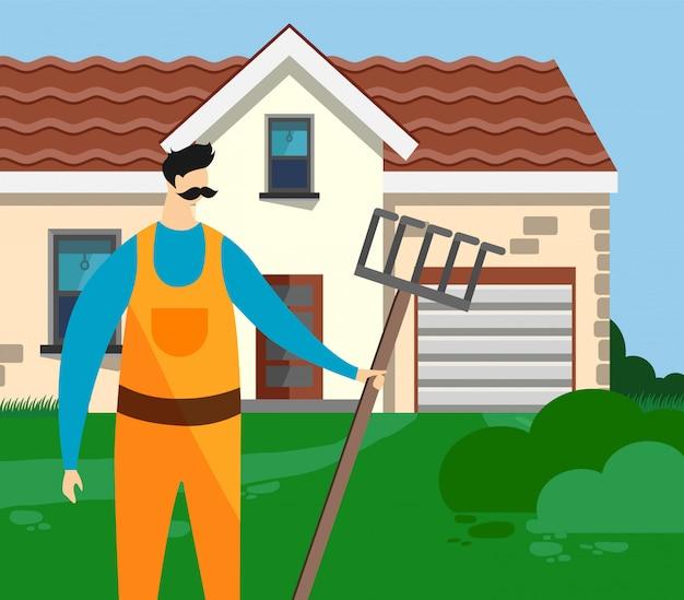 Jardineiro de homem com ancinho em fundo de casa de agricultura