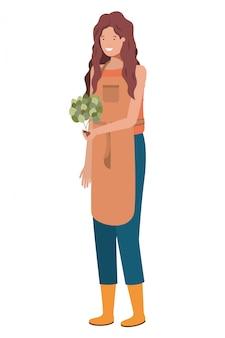 Jardineiro de mulher jovem com caráter de avatar de planta