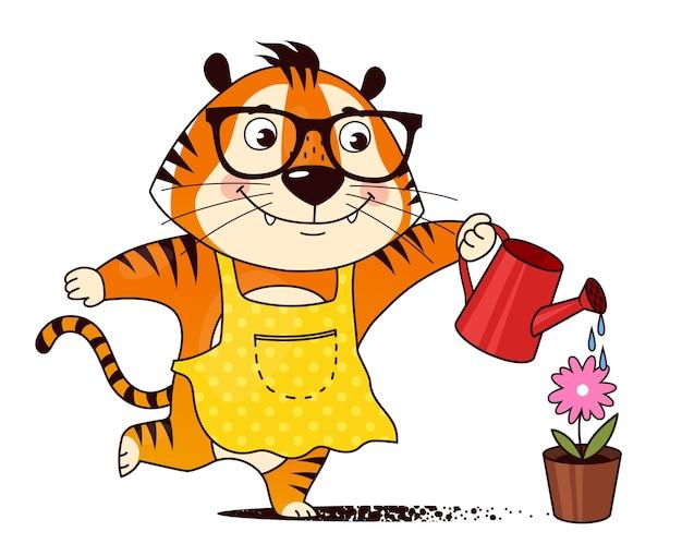 Jardineiro de tigre de desenho animado regando uma flor em uma panela cuidando de verduras