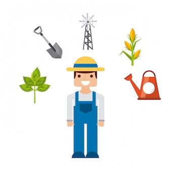 Jardineiro e jardinagem design de ícones