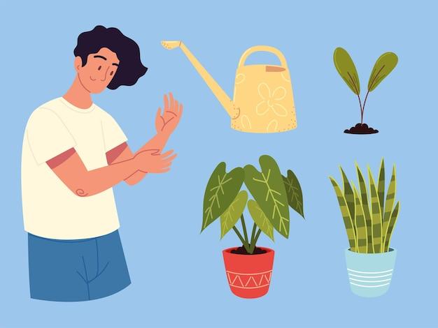 Jardineiro e plantas