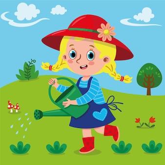 Jardineiro fofo menina regando planta no jardim ilustração vetorial