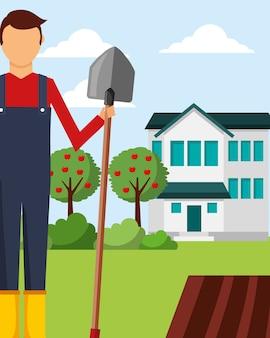 Jardineiro homem detém pá macieiras e jardinagem casa