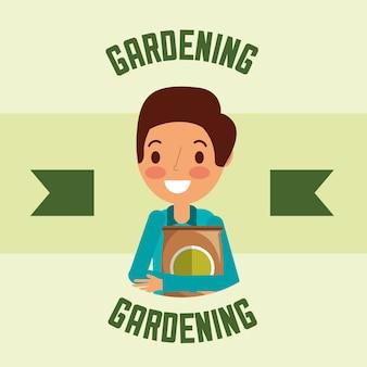 Jardineiro homem personagem fertlizer pack jardinagem imagem