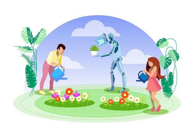 Jardineiro robô, ilustração plana de ajudante