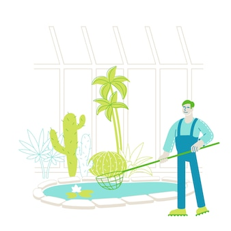 Jardineiro, trabalhador ou botânico, cientista, personagem, pegar, flores de lótus flutuantes