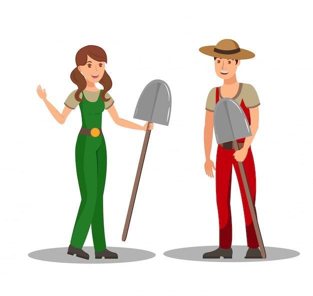 Jardineiros com ilustração vetorial plana de pás