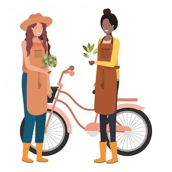 Jardineiros de mulheres com caráter de avatar de bicicleta
