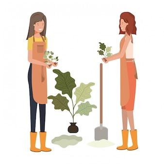 Jardineiros de mulheres jovens sorrindo personagem avatar