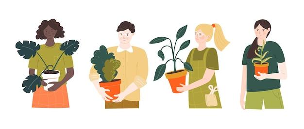 Jardineiros de plantas caseiras. personagens masculinos e femininos segurando potes. ilustração em vetor de pessoas com passatempo verde. meninas e homem isolado no fundo branco.