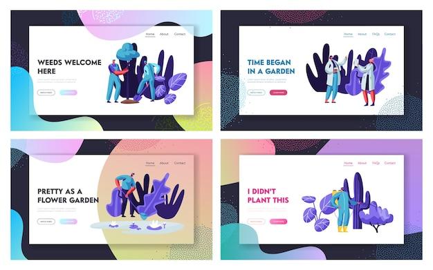 Jardineiros e cientistas que cultivam e cuidam do conjunto de páginas de destino do site de plantas. . pessoas de jardinagem fazendo trabalho sazonal em árvores de plantio de estufa. página da web, ilustração vetorial plana de desenho animado