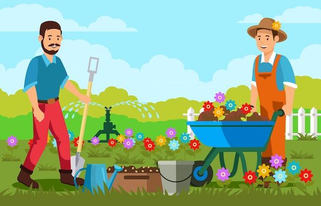 Jardineiros, plantando flores, vetorial, ilustração