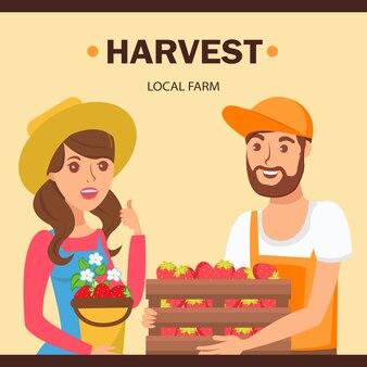 Jardineiros, segurando, bagas, colheita, ilustração