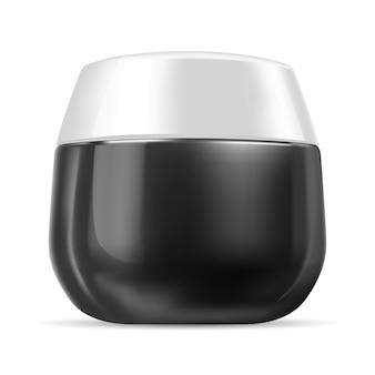 Jarra de creme de plástico brilhante preto e branco isolada