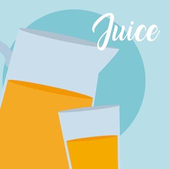 Jarra de suco e copo de vidro vector design gráfico ilustração