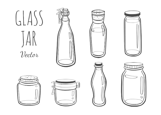 Jarra de vidro para geléia ou outros produtos ilustração desenhada à mão