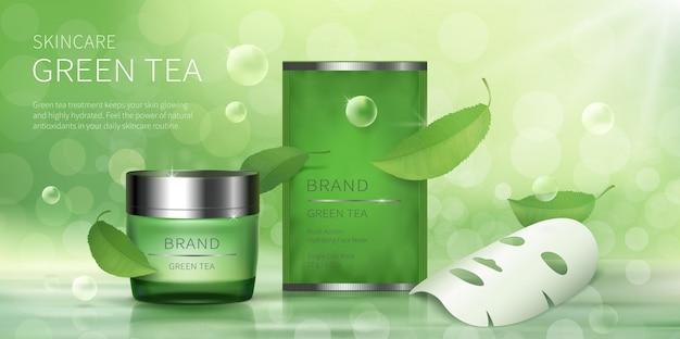 Jarra de vidro verde e máscara de folha facial