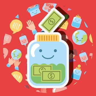 Jarra de vidro vidro nota dinheiro dólar kawaii caridade