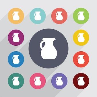 Jarro, conjunto de ícones simples. botões coloridos redondos. vetor