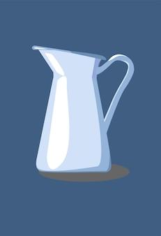 Jarro de água de cozinha azul com reflexos e sombras brancas