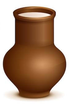 Jarro de barro de cerâmica cheia de leite