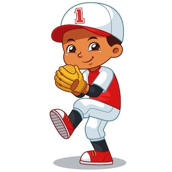 Jarro de beisebol menino pronto para jogar.