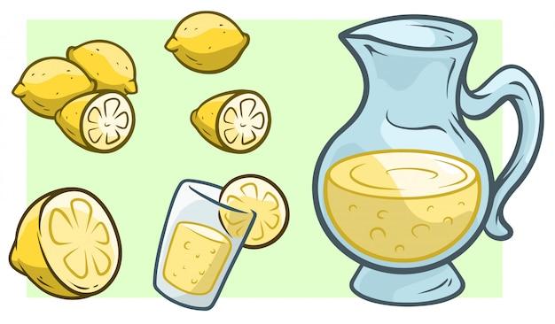 Jarro de desenhos animados com limonada fresca e limões