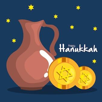 Jarro de óleo hanukkah feliz e design de gelt, festa de celebração do feriado do judaísmo