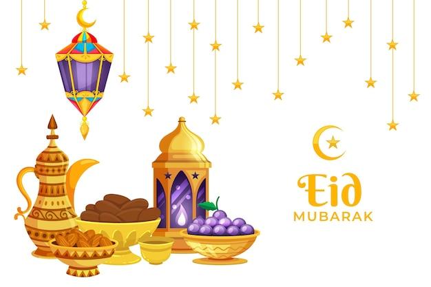 Jarro de ouro e tigela design plano eid mubarak