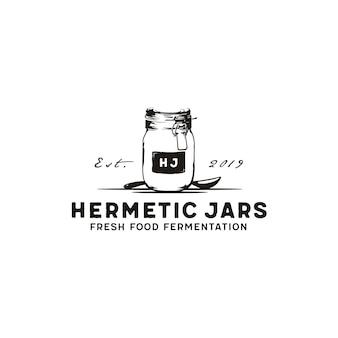 Jarro de vidro hermético vintage desenhado à mão para armazenamento de pedreiro design de logotipo clássico