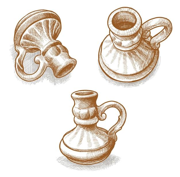 Jarro ou jarro de cerâmica desenhado à mão com alça