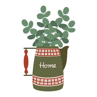 Jarro vermelho-verde vintage e um buquê de ramos de eucalipto