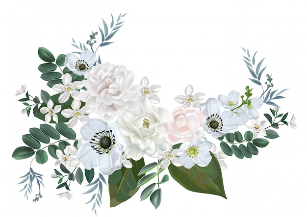 Jasmim e buquê de flores brancas, isolado no branco