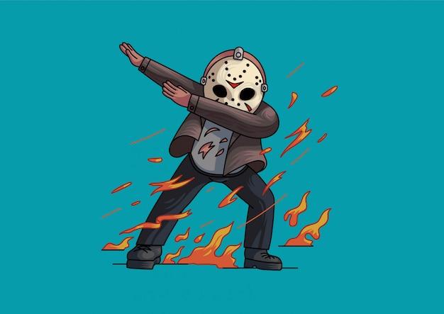 Jason voorhees dabbing estilo halloween fofo