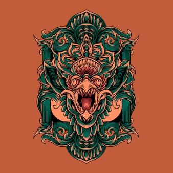 Jatayu, cabeça, cultura balinesa, ilustração, com, ornamento
