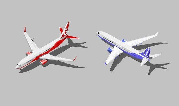Jato isométrico de passageiros em dois esquemas de cores diferentes.