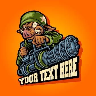Javali de guerra com logotipo de mascote de mini arma