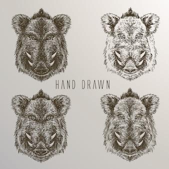 Javali, mão, mão, desenhado, cobrança