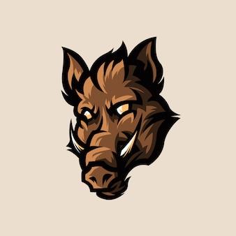 Javali selvagem esports logotipo ilustração