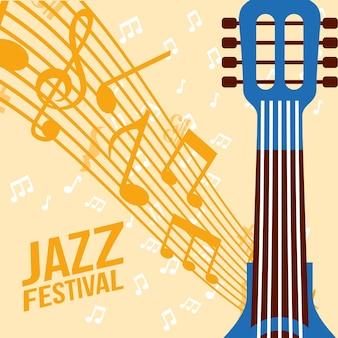 Jazz festival acordes azul guitarra música notas fundo