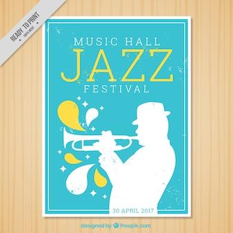 Jazz festival folheto com silhueta trompetista