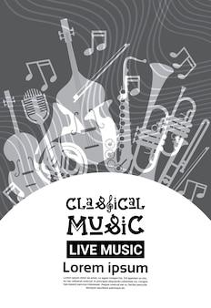 Jazz festival live music concert cartaz anúncio retro banner