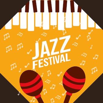 Jazz festival tocar piano maracas notas música